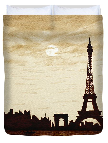 Paris Under Moonlight Silhouette France Duvet Cover