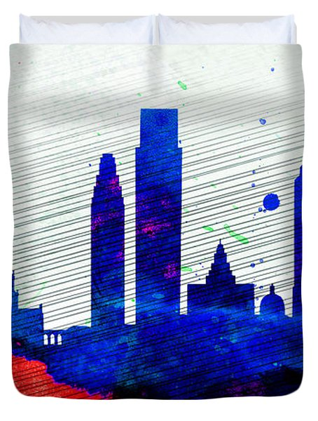 Philadelphia City Skyline Duvet Cover by Naxart Studio