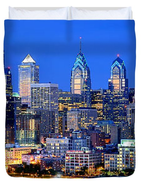 Philadelphia Skyline At Night Evening Panorama Duvet Cover by Jon Holiday