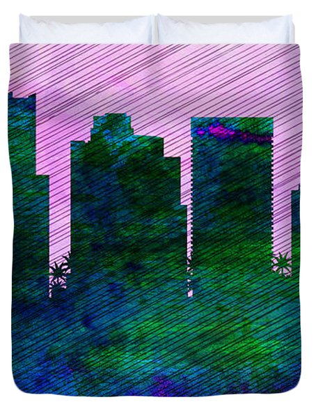 Phoenix City Skyline Duvet Cover by Naxart Studio