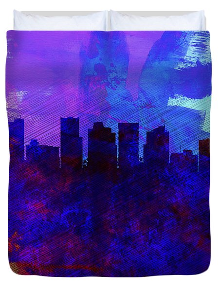Phoenix Watercolor Skyline 1 Duvet Cover by Naxart Studio