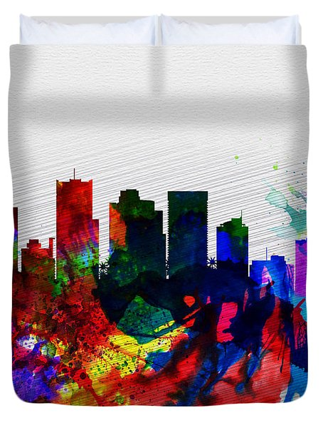 Phoenix Watercolor Skyline 2 Duvet Cover by Naxart Studio