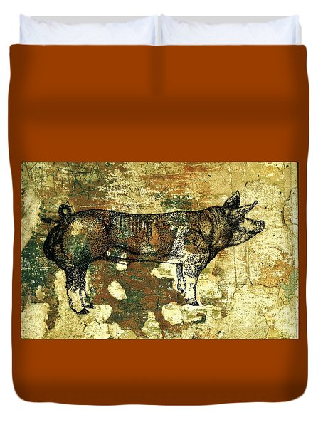 German Pietrain Boar 27 Duvet Cover by Larry Campbell