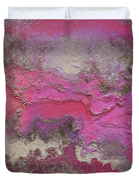 Pink And Gold Abstract Painting Duvet Cover