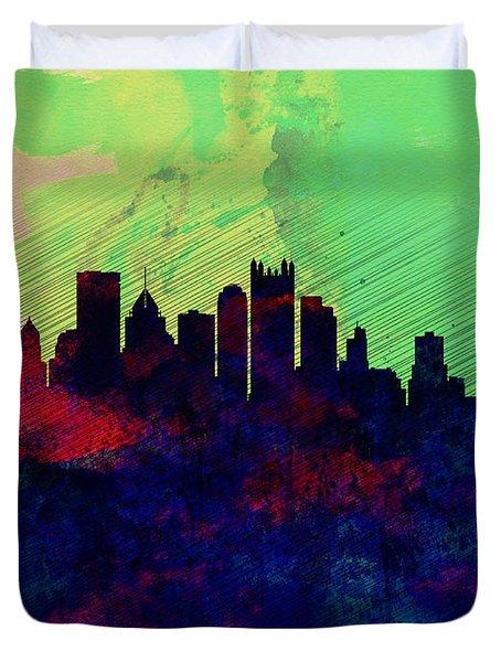 Pittsburgh Watercolor Skyline Duvet Cover