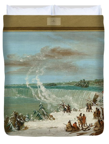 Portage Around The Falls Of Niagara At Table Rock Duvet Cover by George Catlin