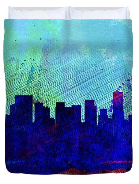 Portland Watercolor Skyline Duvet Cover