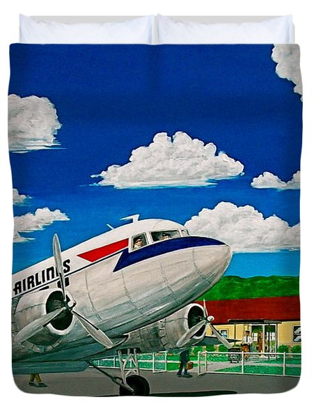 Portsmouth Ohio Airport And Lake Central Airlines Duvet Cover