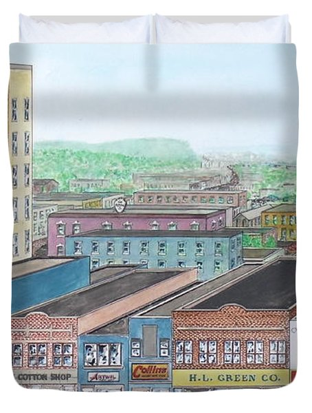 Portsmouth Ohio Dime Store Row 4th To 5th Duvet Cover