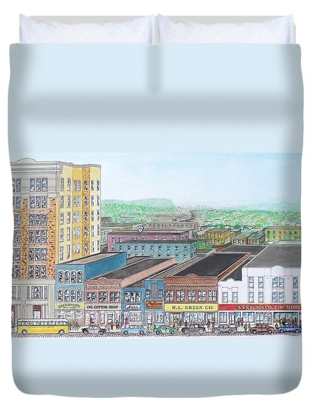 Portsmouth Ohio Dime Store Row 4th To 5th Duvet Cover by Frank Hunter