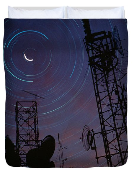 Radio Towers And Star Trails Duvet Cover