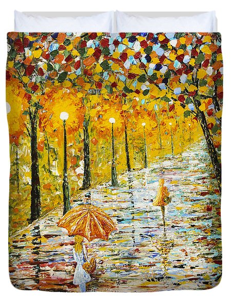 Rainy Autumn Beauty Original Palette Knife Painting Duvet Cover