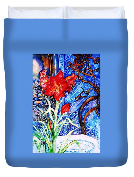 Red Amaryllis  Duvet Cover by Trudi Doyle