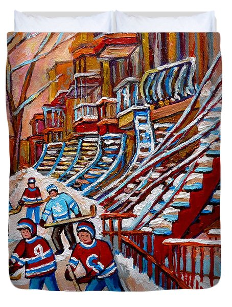 Red Staircases -paintings Of Verdun Montreal City Scene - Hockey Art - Winter Scenes  Duvet Cover by Carole Spandau