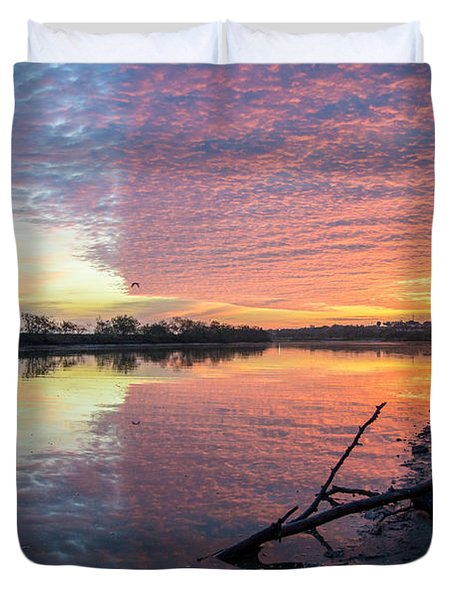 River Glows At Sunrise Duvet Cover