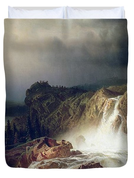 Rocky Landscape With Waterfall In Smaland Duvet Cover by Marcus Larson