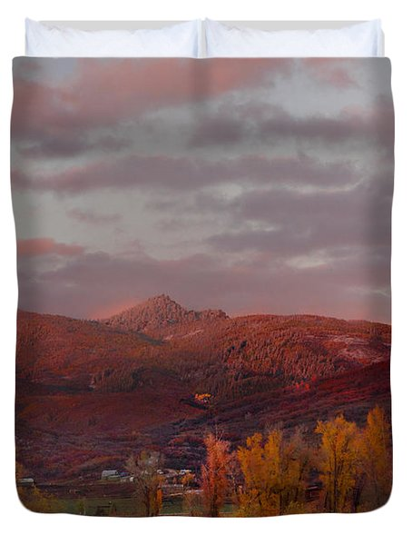 Rocky Peak Autumn Sunset Duvet Cover