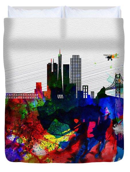 San Francisco Watercolor Skyline 1 Duvet Cover