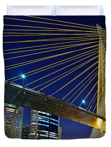 Sao Paulo's Iconic Cable-stayed Bridge  Duvet Cover