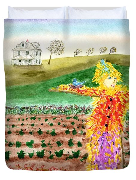 Scarecrow With Nesting Companion Duvet Cover