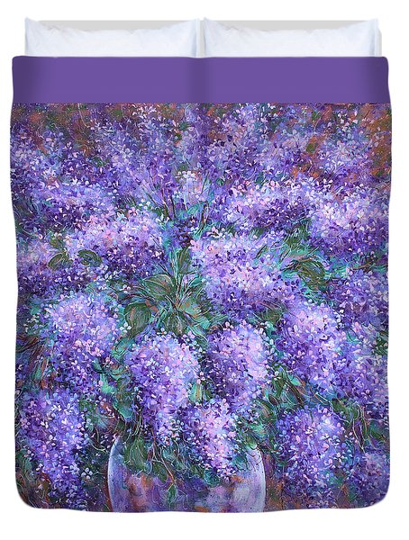 Duvet Cover featuring the painting  Scented Lilacs Bouquet by Natalie Holland