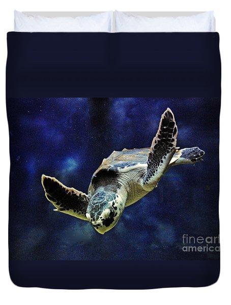 Duvet Cover featuring the photograph  Sea Turtle by Savannah Gibbs