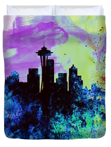Seattle Watercolor Skyline 1 Duvet Cover by Naxart Studio