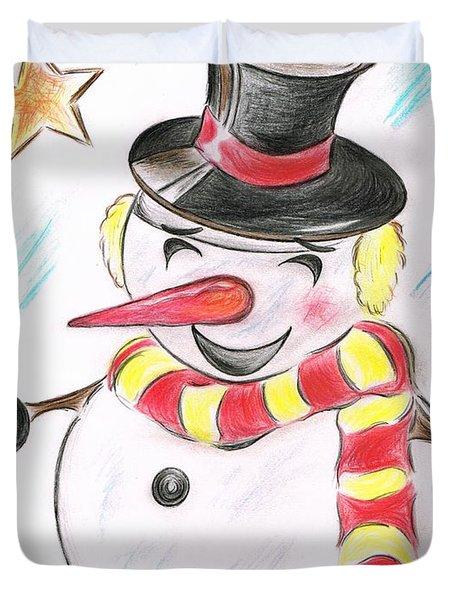 Snowmans  Stardom Duvet Cover by Teresa White
