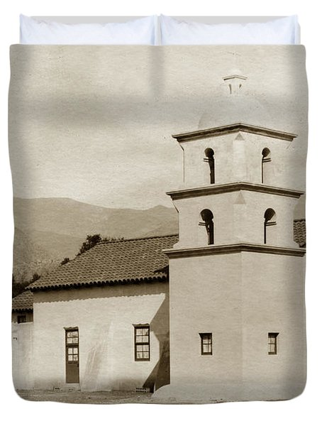 Duvet Cover featuring the photograph  St. Thomas Aquinas Catholic Church  Ojai Cal 1920 by California Views Mr Pat Hathaway Archives