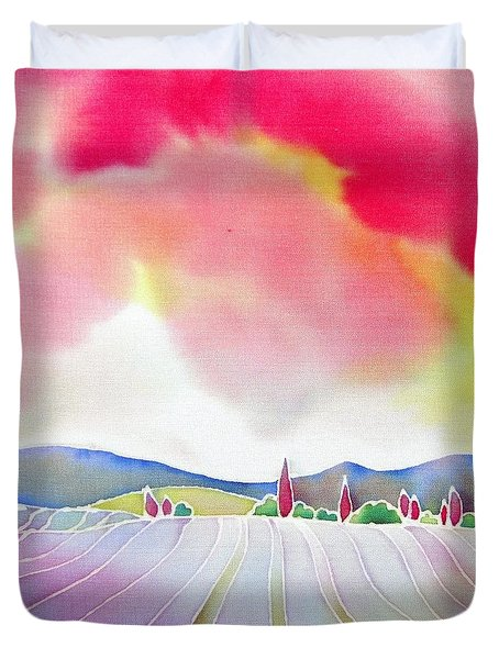 Sunset On The Lavender Farm Duvet Cover