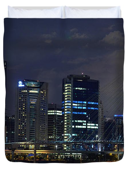 Supermoon In Sao Paulo - Brazil Skyline Duvet Cover