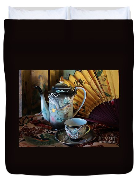 Tea And Calligraphy Duvet Cover