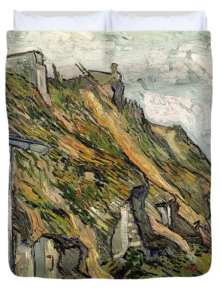 Thatched Cottages In Chaponval Duvet Cover by Vincent van Gogh