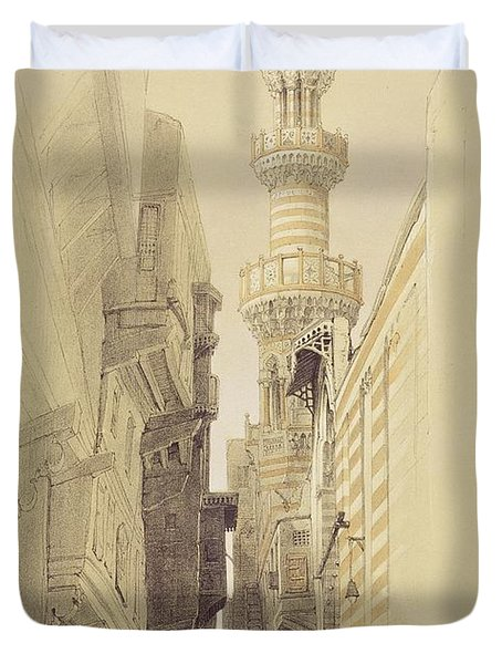 The Minaret Of The Mosque Of El Rhamree Duvet Cover by David Roberts