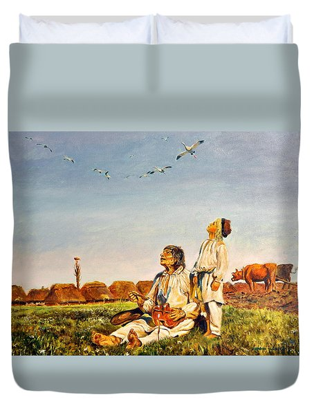 Duvet Cover featuring the painting End Of The Summer- The Storks by Henryk Gorecki