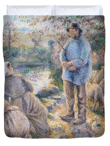 The Washerwomen Duvet Cover by Camille Pissarro