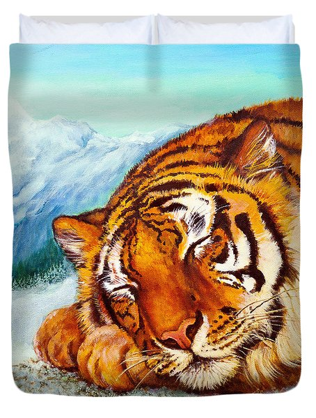 Duvet Cover featuring the painting  Tiger Sleeping In Snow by Bob and Nadine Johnston
