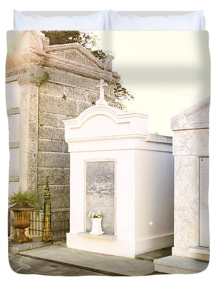 Duvet Cover featuring the photograph   Tombstones  by Erika Weber