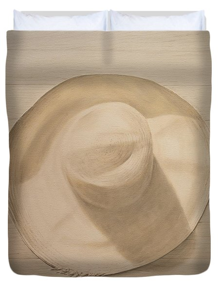 Travelling Hat On Dusty Table Duvet Cover by Lincoln Seligman