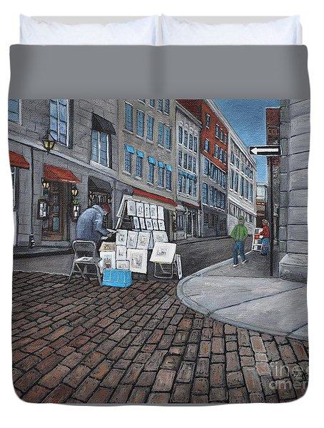 Vendeur Sur La Rue Vieux Montreal Duvet Cover by Reb Frost