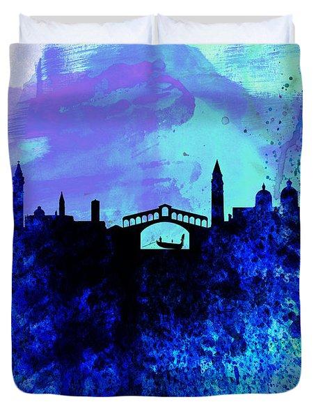 Venice Watercolor Skyline Duvet Cover by Naxart Studio
