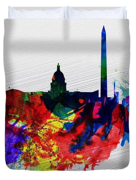 Washington Dc Watercolor Skyline 1 Duvet Cover