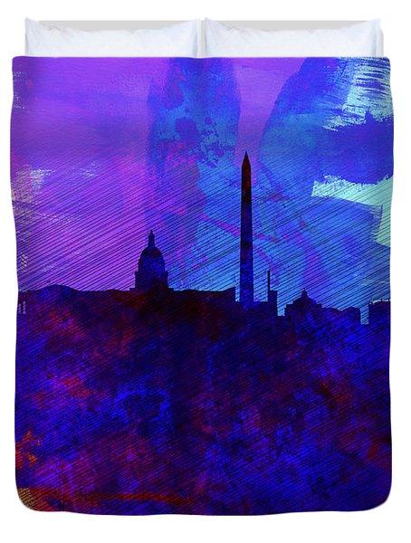 Washington Dc Watercolor Skyline 2 Duvet Cover