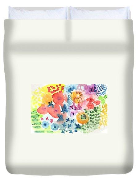 Watercolor Garden Duvet Cover