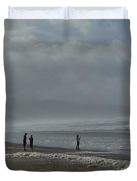 Duvet Cover featuring the photograph  Wave Handstand  by Susan Garren