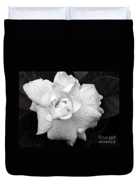 Duvet Cover featuring the photograph  White Drops by Michelle Meenawong