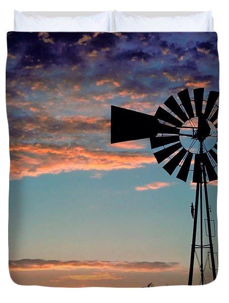Windmill At Dawn Duvet Cover