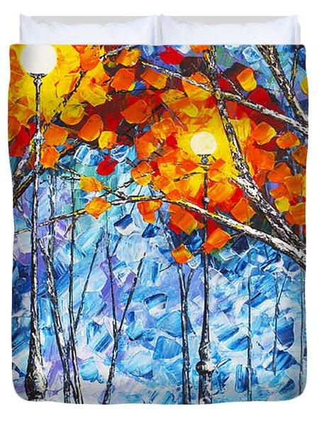 Silence Winter Night Light Reflections Original Palette Knife Painting Duvet Cover