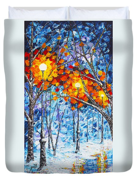 Duvet Cover featuring the painting  Silence Winter Night Light Reflections Original Palette Knife Painting by Georgeta Blanaru