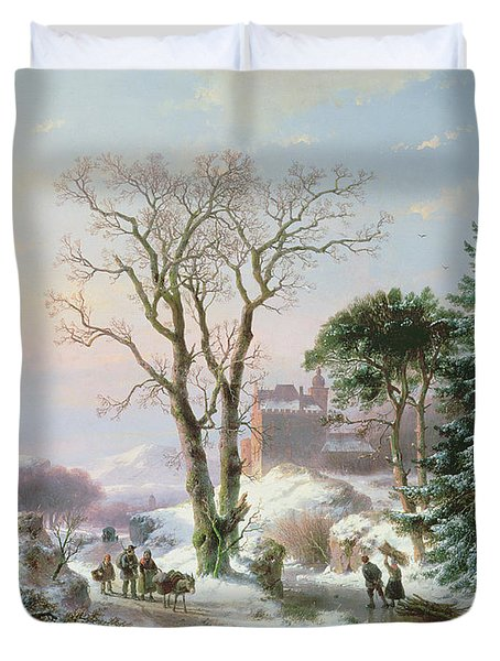 Wooded Winter River Landscape Duvet Cover by  Andreas Schelfhout
